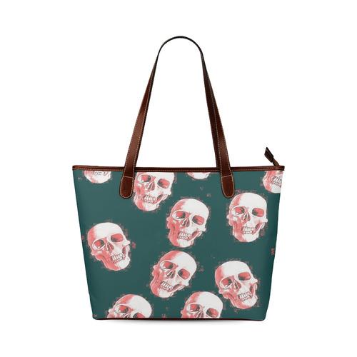 skulls white pink by JamColors Shoulder Tote Bag (Model 1646)  c77ce927cd092