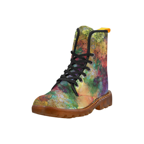 WATERCOLOR MANDALA dark grunge style pattern Martin Boots For Women Model 1203H