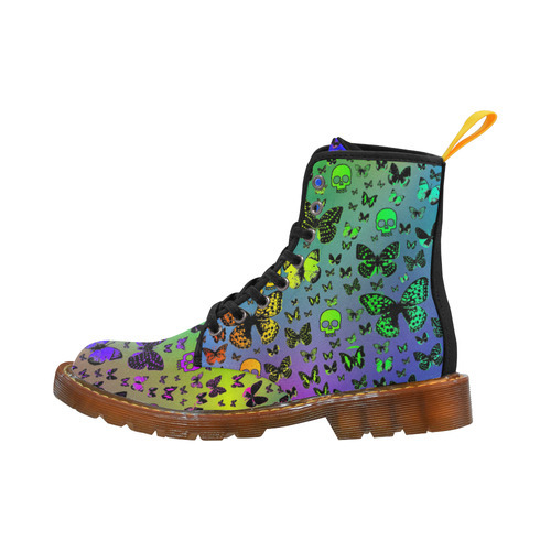 Rainbow Skulls & Butterflies Martin Boots For Women Model 1203H