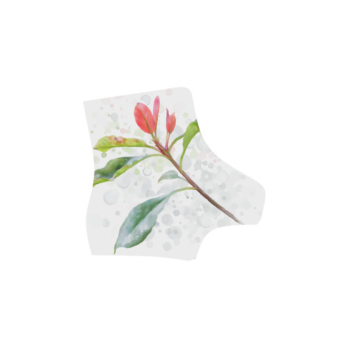 3 colors leaves, red blue green. Floral watercolor Martin Boots For Women Model 1203H