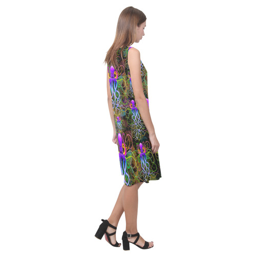 Octopus Psychedelic Luminescence Sleeveless Splicing Shift Dress(Model D17)