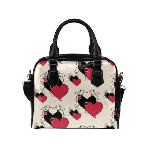 Red Black Valentine Hearts Pattern Shoulder Handbag (Model 1634)