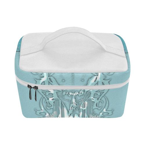 Soft blue decorative design Cosmetic Bag/Large (Model 1658)