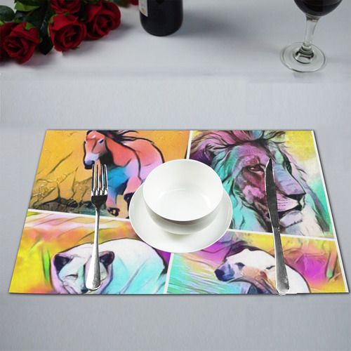 popArt Animal Collage Placemat 12''x18''