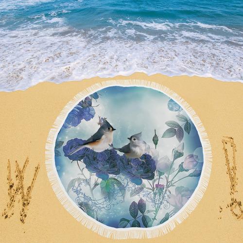 """Cute birds with blue flowers Circular Beach Shawl 59""""x 59"""""""