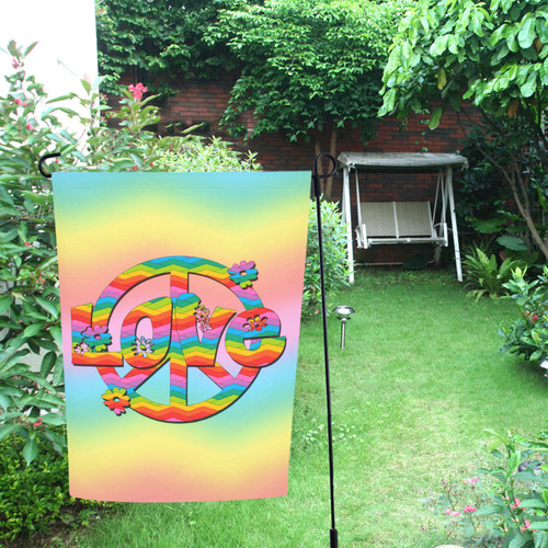 Colorful Love and Peace Background Garden Flag 12''x18''(Without Flagpole)