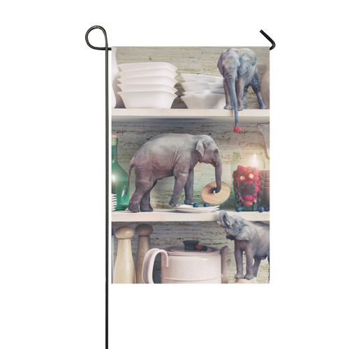 The tiny elephants opens the glass vase with berri Garden Flag 12''x18''(Without Flagpole)