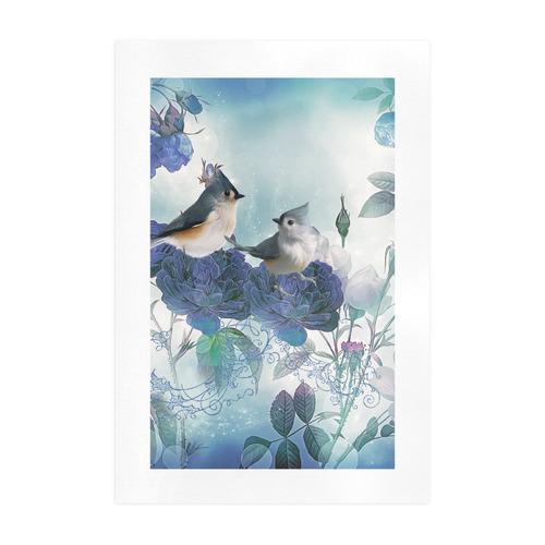 Cute birds with blue flowers Art Print 19''x28''
