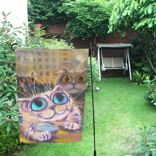 The hungry cat waiting for meal副本 Garden Flag 12''x18''(Without Flagpole)