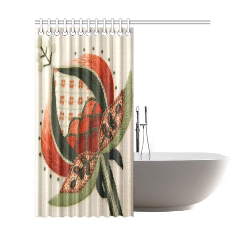 Jacobean Crewel Floral Embroidery Pattern Shower Curtain