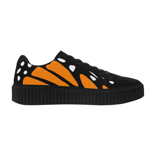 Monarch, Black and Orange Suede Women Shoes (Model 306)