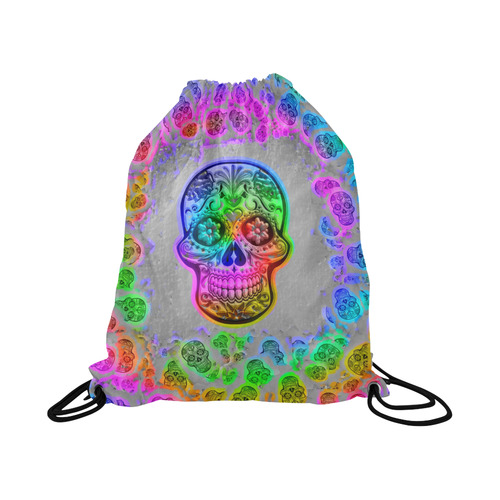 "Skull20170246_by_JAMColors Large Drawstring Bag Model 1604 (Twin Sides)  16.5""(W) * 19.3""(H)"