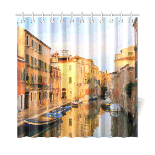 Canal With Gondolas In Venice Shower Curtain 72x72