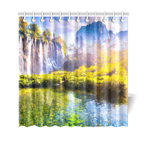 Waterfalls Forest Mountains Nature Landscape Shower Curtain 69x70