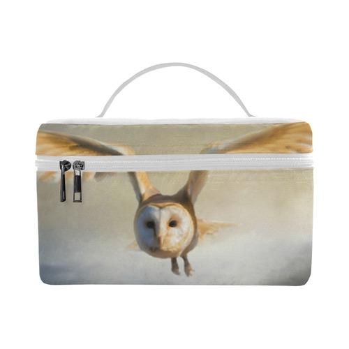 An barn owl flies over the lake Cosmetic Bag/Large (Model 1658)