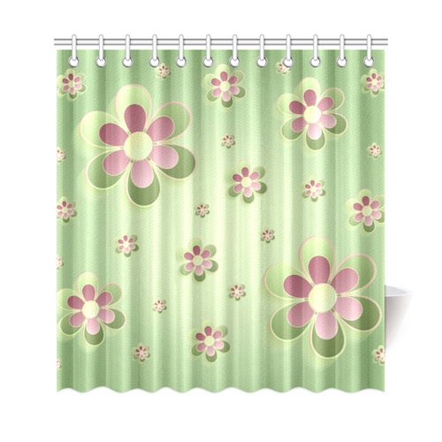 Cute Pink Green Yellow Spring Floral Shower Curtain 69x72