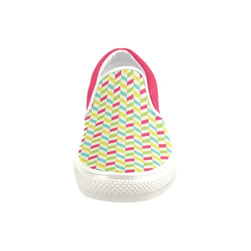 Colorful Herringbone Slip-on Canvas Shoes for Kid (Model 019)