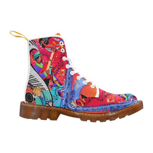 Music Art Printed Boots by Juleez Martin Boots For Women Model 1203H