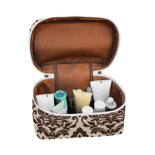 Brown Cream Damask Pattern Cosmetic Bag/Large (Model 1658)
