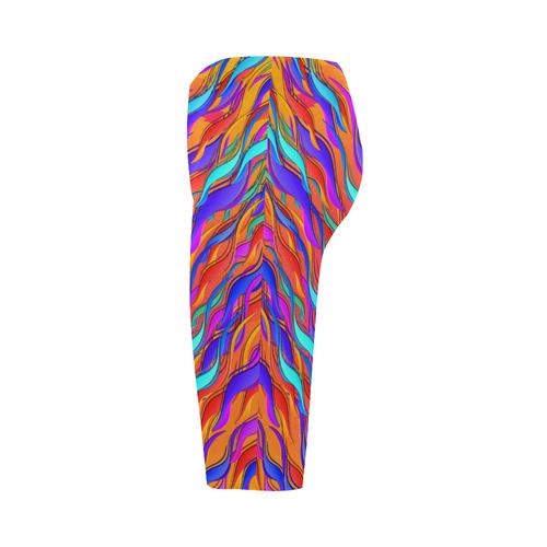 Crazy Color Waves Print Crop Leggings Hestia Cropped Leggings (Model L03)