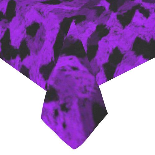 "Black and Purple chalk Cotton Linen Tablecloth 60""x120"""