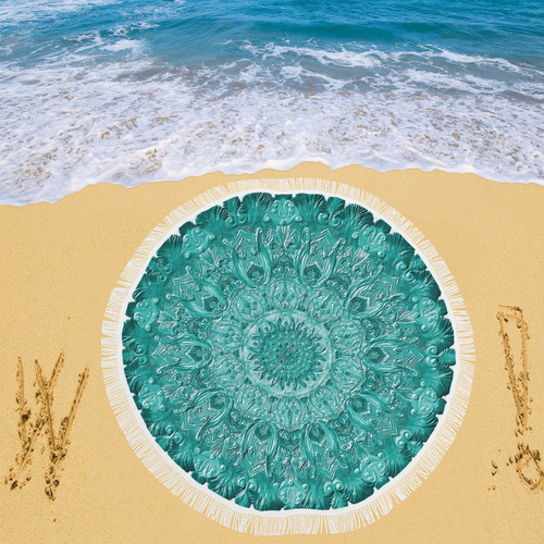 "mandala gloopy 9 Circular Beach Shawl 59""x 59"""
