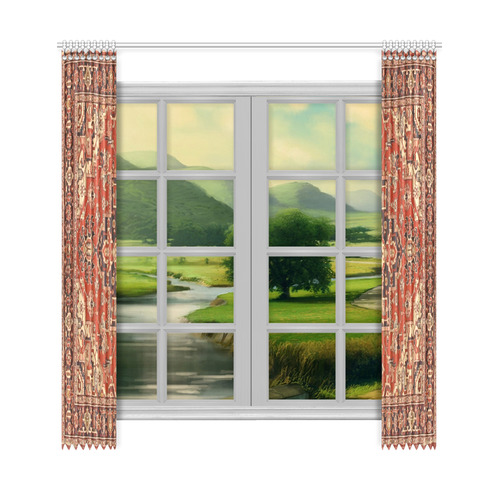 """Vintage Floral Persian Rug Pattern Window Curtain 50""""x108""""(Two Piece)"""