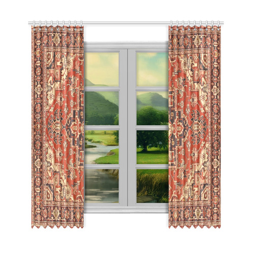 "Vintage Floral Persian Rug Pattern Window Curtain 50""x108""(Two Piece)"