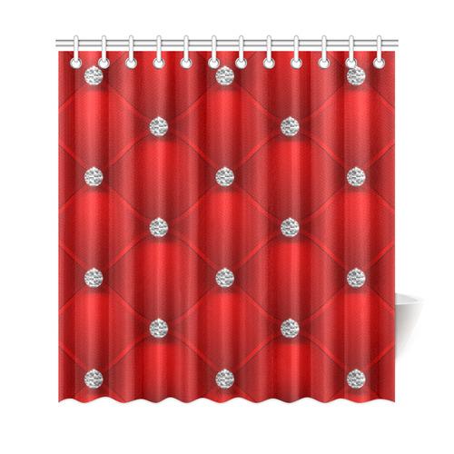 "Red Silver Luxury Pattern Fake Diamonds Shower Curtain 69""x72"""