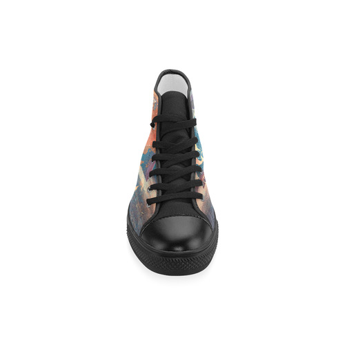 world map Men's Classic High Top Canvas Shoes (Model 017)