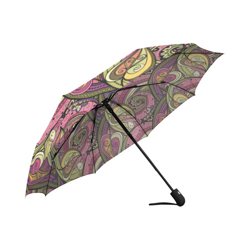 Pink Orange Green Vintage Floral Pattern Auto-Foldable Umbrella (Model U04)