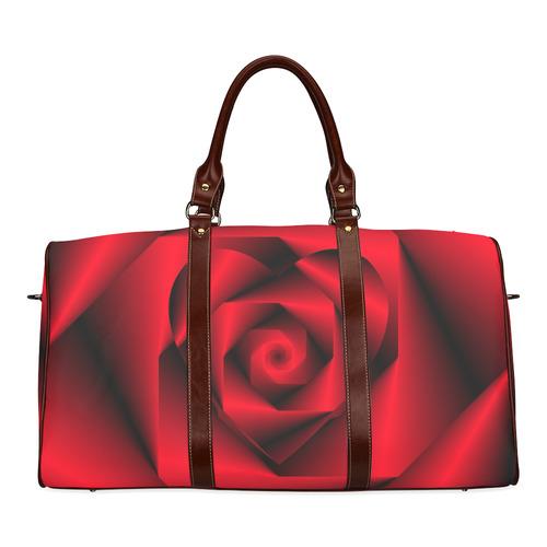 Black   Red Swirls Love Heart Waterproof Travel Bag Small (Model 1639)  841f127818abb