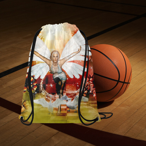 """Fairy with swan Medium Drawstring Bag Model 1604 (Twin Sides) 13.8""""(W) * 18.1""""(H)"""