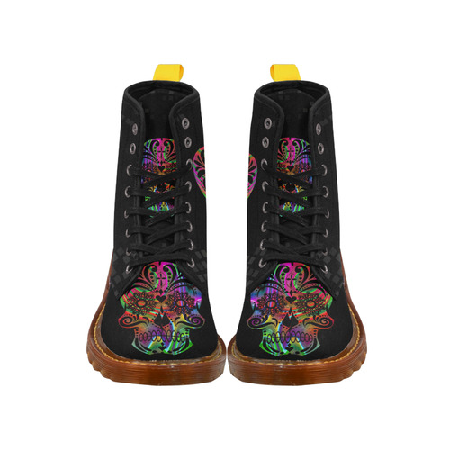psychedelic skull by JamColors Martin Boots For Women Model 1203H