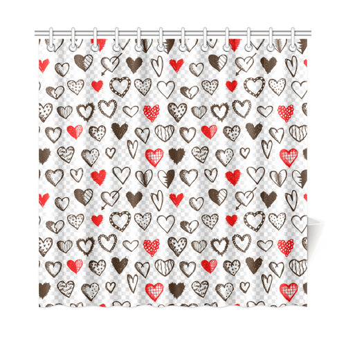 "Red and Black Hearts Love Pattern Shower Curtain 72""x72"""