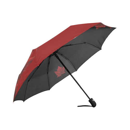 Canada Maple Leaf Umbrella Black & Red Auto-Foldable Umbrella