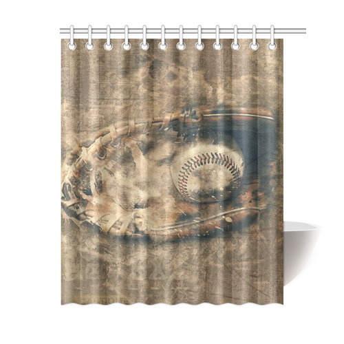 Abstract Vintage Baseball Shower Curtain 60x72
