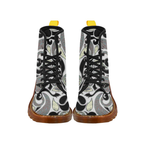 Retro Swirl Abstract in Black and White Martin Boots For Men Model 1203H