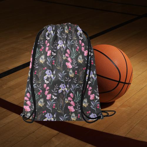"Wildflowers I Large Drawstring Bag Model 1604 (Twin Sides)  16.5""(W) * 19.3""(H)"