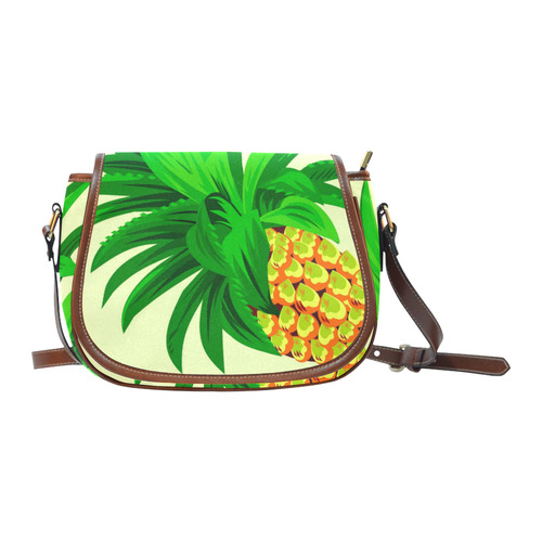 Yellow Orange Pineapple Green Leaves Saddle Bag/Large (Model 1649)