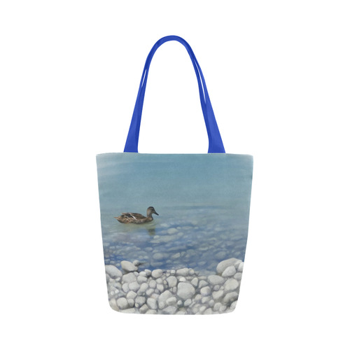 Swimming Duck, watercolor bird Canvas Tote Bag (Model 1657)