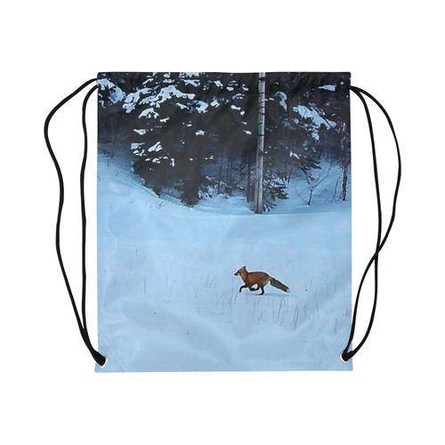 "Fox on the Run Large Drawstring Bag Model 1604 (Twin Sides)  16.5""(W) * 19.3""(H)"