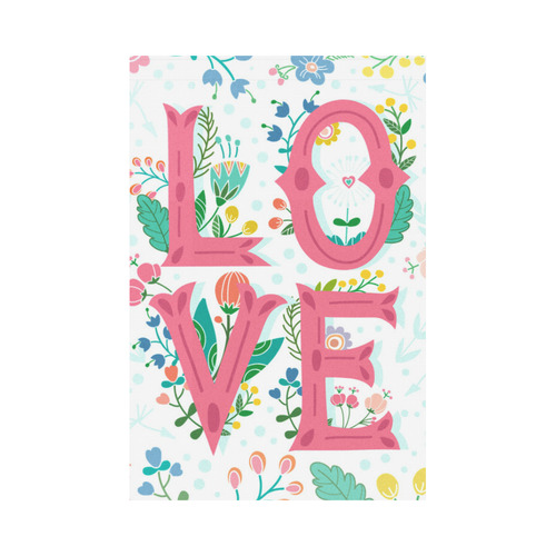 Pastel Colorful Floral LOVE Lettering Garden Flag 12''x18''(Without Flagpole)
