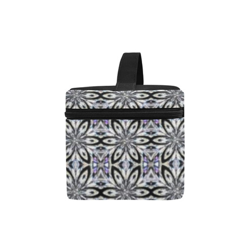 Black Gray and Purple Geometric Cosmetic Bag/Large (Model 1658)