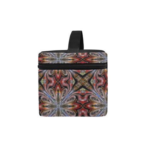 Maroon Geometric Cosmetic Bag/Large (Model 1658)