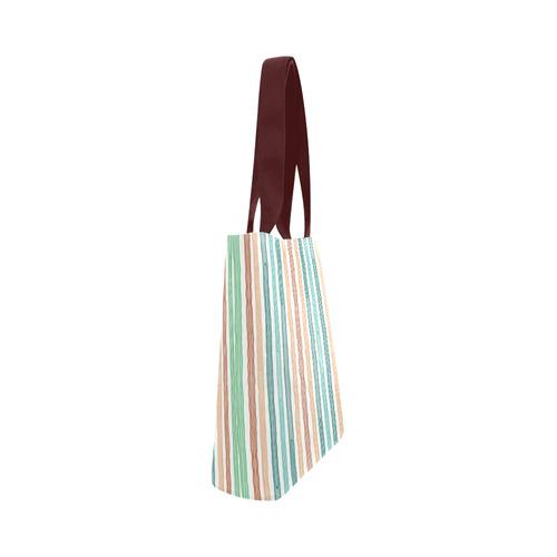 Fun decorative pastel lines, green blue orange red Canvas Tote Bag (Model 1657)