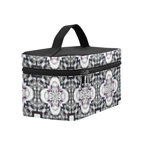 Black and Purple Geometric Cosmetic Bag/Large (Model 1658)