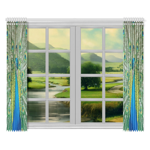 "Indian Peacock Window Treatments Window Curtain 52""x84""(Two Pieces)"
