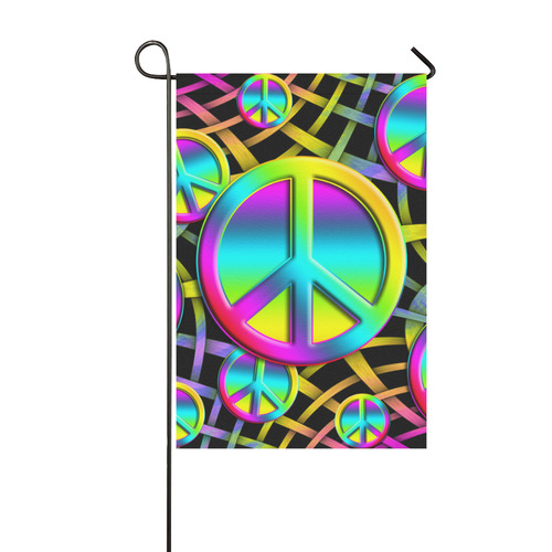 Neon Colorful PEACE pattern Garden Flag 12''x18''(Without Flagpole)