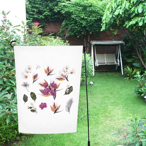 Garden Flag : with Folk flowers on white Garden Flag 12''x18''(Without Flagpole)
